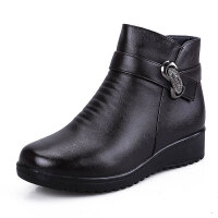 妈妈鞋棉鞋真皮冬保暖加绒加厚坡跟平底防滑皮靴中年女棉皮鞋棉靴软底 黑色