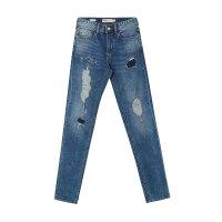 【1件3折到手价:73.5】美特斯邦威牛仔裤男士冬装新款潮流摇滚大补丁牛仔裤商场款