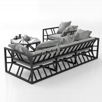 北欧工业风铁艺沙发茶几组合单人三人小户型咖啡厅服装店办公休闲 单人+双人+三人+(带坐垫) 送靠垫 组合