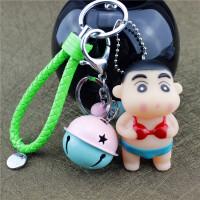 韩国卡通蜡笔小新公仔情侣钥匙扣创意男女汽车钥匙链铃铛挂件礼物