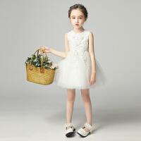 儿童礼服白雪公主裙女童蓬蓬纱小婚纱花童主持人钢琴演出服白色夏7527