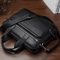 真皮男包手提包商务休闲公文包横大容量单肩斜挎包电脑包