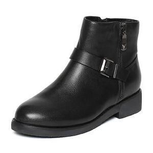 Tata/他她冬黑色牛皮时尚皮带扣通勤风方跟女短靴2YWD2DD6