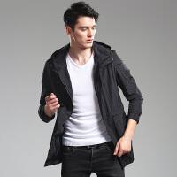 2018春秋男士薄款外套修身风衣连帽中长款夹克青少年韩版潮流衣服