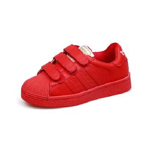 比比我儿童板鞋韩版百搭学生魔术贴男童鞋2017秋季新款女童休闲板鞋