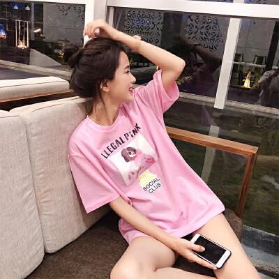 谜秀t恤女短袖2018夏装新款韩版宽松怪味少女百搭白色印花上衣夏