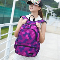 韩版双肩包女士旅行背包大容量电脑包帆布休闲初中学生书包男潮流 877中号Y紫色