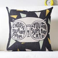 0705194526224北欧潮猫枕头棉麻沙发抱枕可爱卡通靠垫汽车腰枕床头飘窗靠枕腰靠