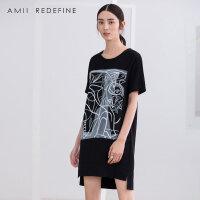 [AMII东方极简] JII[东方极简]2018夏新款女装连衣裙大码棉麻短裙夏