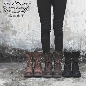 【下单只需要298元】玛菲玛图2017新款中筒靴子女真皮手工磨砂鞋复古皮带扣系带马丁靴5751-1M