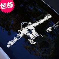 海贼王汽车贴纸火神艾斯反光个性拉花摩托车电动车汽车贴 长70*30.7cm 黑色(单个装)