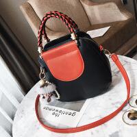 包包新款韩版时尚贝壳包潮流编织手提包撞色百搭单肩斜跨女包 黑色 挂件颜色随机
