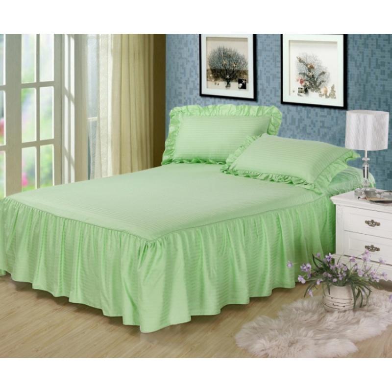 纯棉纯色酒店床上用品全棉缎条床裙床罩式床单床笠床套单件1.8m床 精选全棉贡缎缎条面料,舒适透气适用于四季,缎条床品的特点是纯色自然好配家居,简单