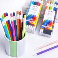 得力按动彩色铅笔12/24/36色儿童彩铅宝宝涂鸦用可替换芯彩色画笔