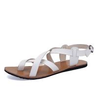 秋季罗马个性凉鞋男凉拖露趾男士休闲凉皮鞋越南白色沙滩鞋子潮拖