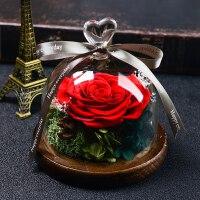 永生花玻璃罩礼盒圣诞情人节生日礼物玫瑰花干花束送女友蓝色妖姬
