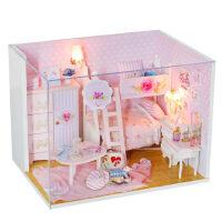 成人手工房子模型�和�益智玩具生日�Y物女diy小屋3d立�w木�|拼�D