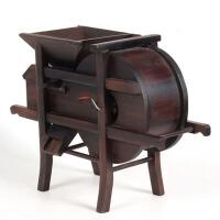 实木质风车石磨家具微缩模型摆件红木雕刻工艺品