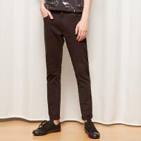 【1件3折到手价:37.77】美特斯邦威黑色休闲裤子男潮流修身长裤学生韩版潮冬装新款