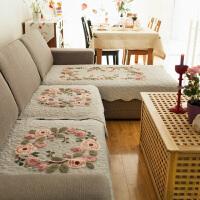 四季通用布艺沙发垫欧式全包沙发套沙发罩巾田园刺绣防滑夏季坐垫