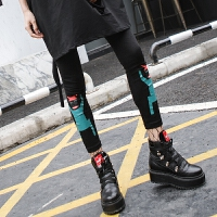 2018春季个性高腰小脚裤 黑色显瘦机器人印花九分打底裤女外穿潮 黑色