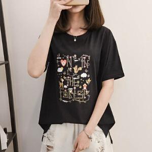 2018夏字母印花t恤女短袖修身体恤小衫棉质半袖打底衫学生上衣服
