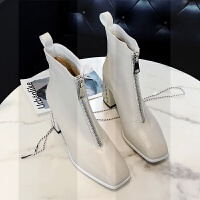 网红白色短靴女春秋2018新款瘦瘦靴子女冬季加绒粗跟马丁靴高跟鞋SN1934