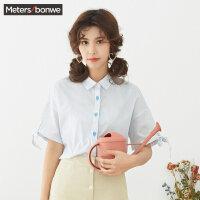 【2件2.5折到手价:37.5】美特斯邦威短袖衬衫女chic韩风上衣半袖衫可爱系带夏装新款