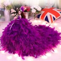 品质芭比娃娃套装礼盒单个90厘米超大羽毛拖尾婚纱公主玩具生日 紫色羽毛公主 拖尾长90CM高45CM赠礼盒礼袋