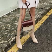 弹力袜子靴瘦瘦靴高跟靴子女细跟中筒短靴尖头同款鞋秋冬踝靴