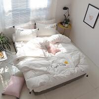 水洗棉四件套ab版小清新刺绣流苏被套棉床单三件套床上用品