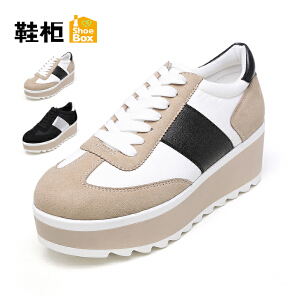 达芙妮集团 鞋柜学院风深口系带拼色松糕女单鞋