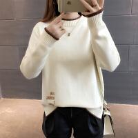 2018新款时尚潮半高领套头加厚毛衣女士春装宽松长袖打底衫潮