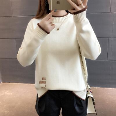 2018新款时尚潮半高领套头加厚毛衣女士春装宽松长袖打底衫潮 发货周期:一般在付款后2-90天左右发货,具体发货时间请以与客服商的时间为准