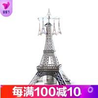 浪漫旋转烛台巴黎埃菲尔铁塔艾菲尔模型创意家居饰品摆件生日礼物 银色
