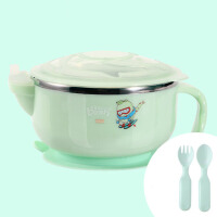 儿童餐具辅食碗不锈钢吸盘碗 宝宝注水保温碗婴儿碗勺套装