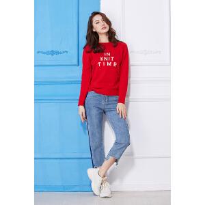 全织时代2018春季新款女士上衣针织衫字母休闲长袖圆领毛衣薄款