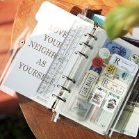 日式随身旅行手帐本PVC透明外壳活页夹手账本活页套装记事笔记本