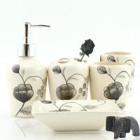 居家浴室用品套装多件套陶瓷卫浴洗漱套装情侣欧式浴室用品漱口杯刷牙杯具套装居家