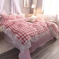 ???秋冬蕾丝花边水晶绒四件套加厚保暖法兰绒宝宝绒被套床单床上用品 优妮 粉格 1.5床(2.0*2.3m被套) 床笠