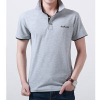 夏季青年色POLO衫有领丝光棉短袖T恤男韩版宽松中年翻领薄款潮