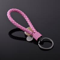 汽车钥匙扣手工创意编织绳小挂件情侣腰挂简约金属钨钢皮绳钥匙链