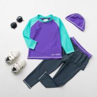 韩国韩范撞色儿童泳衣 女童宝宝长袖保暖防晒运动游泳衣舞蹈服 紫色套装 3T(95-105cm )