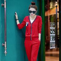 2018秋季新款休闲运动套装女韩版学生春秋宽松跑步运动服两件套潮 L 女