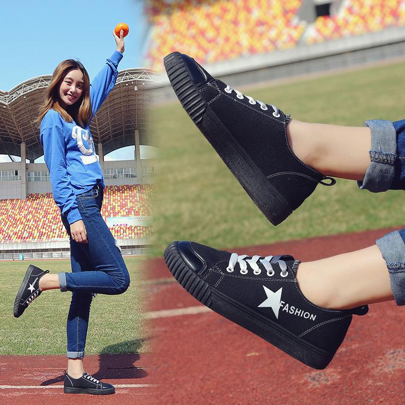 【包邮】街拍小白鞋女夏2017新百搭系带帆布鞋女透气学生鞋韩版平底女鞋子7DTH