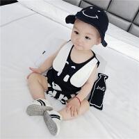 婴儿衣服夏装新生儿套装纯棉条纹短袖两件套男小童宝宝外出服