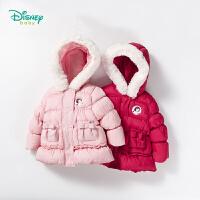 迪士尼Disney童装 女童外套冬季白雪公主夹棉前开扣新款保暖上衣宝宝蝴蝶结棉服184S975