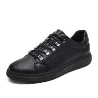 韩版休闲大头鞋子男童皮鞋低帮马丁鞋英伦潮板鞋真皮复古工装鞋男 黑色