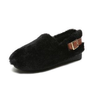 WARORWAR新品YM151-R809-1冬季韩版平底舒适女士乐福鞋毛毛鞋