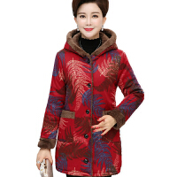 中老年女装秋冬装棉衣新款妈妈装加绒加厚中长款老人棉袄外套 红色 4号色